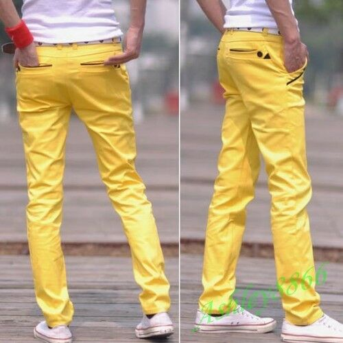 New Slim Pencil Pants Man Thin Casual More Colors Long School Boys Pants Plus SZ