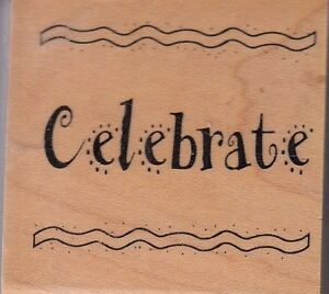 celebrate-art-gone-wild-Wood-Mounted-Rubber-Stamp-2-x-2-034-Free-Shipping