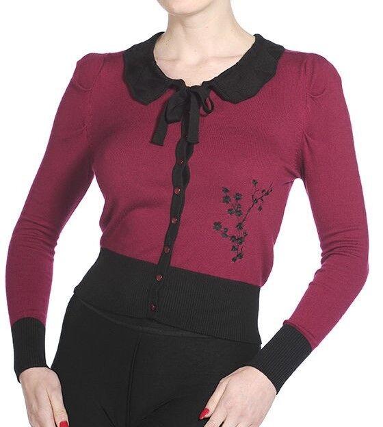 Banned Super Soft Cardigan Floral Knit 50s Rockabilly Vintage Top Burgundy Red