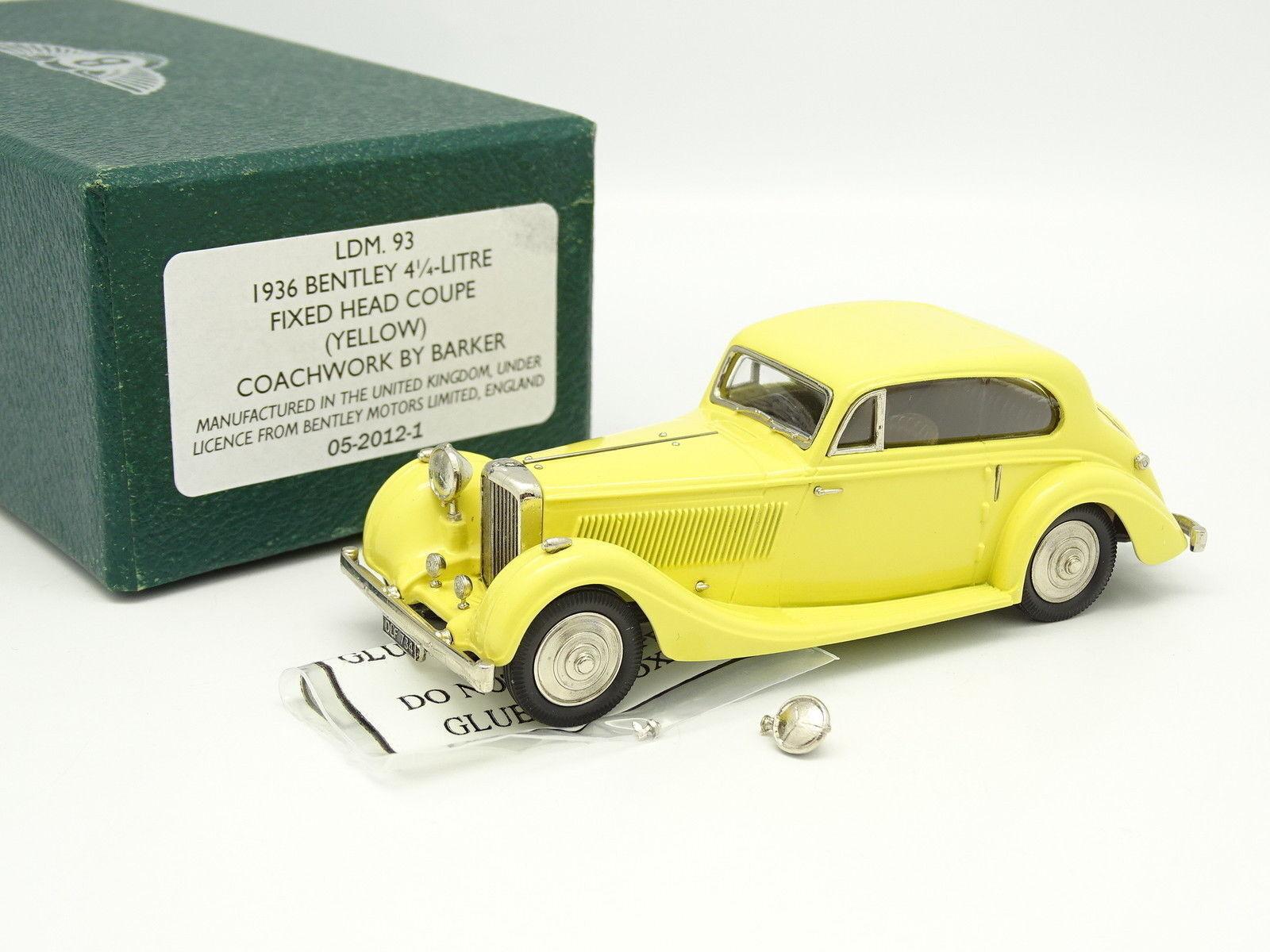 Lansdowne Models 1 43 - Bentley 4.5L Fixed Head Coupe Barker 1936 Jaune