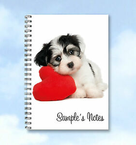 Personalised-A4-Notebook-Cute-Dog-add-any-name-or-text-GREAT-GIFT-IDEA