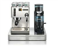 Espresso Machine Maker Rancilio Silvia V4 & Rocky Doser Grinder With Base