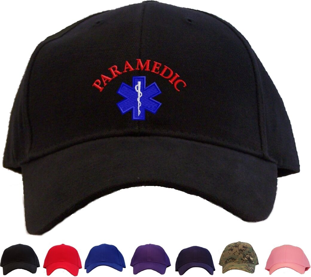 Paramedic in Star of Life Embroidered Baseball Cap - Available in Paramedic 7 Colors - Hat f902b1