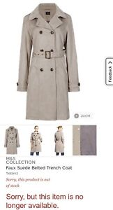 M-amp-S-COLLECTION-STONE-FAUX-VEGAN-SUEDE-BELTED-TRENCH-COAT-BNWOT-SIZE-8-RRP-69