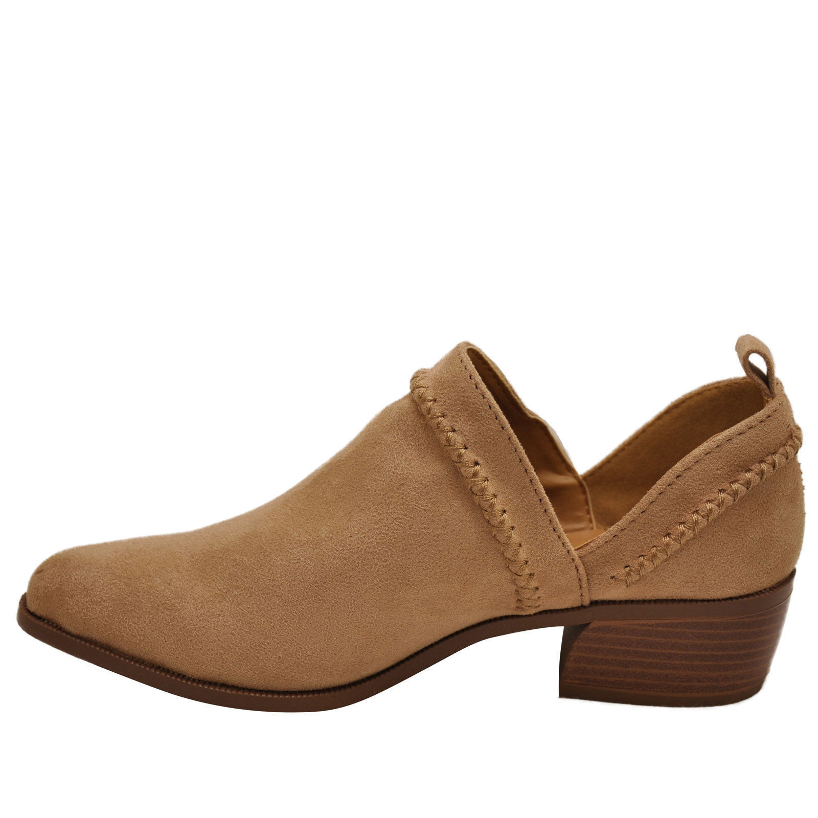 Qupid RAGER 24 Warm Taupe Women's Cross Stitch V Cut Ankle Booties