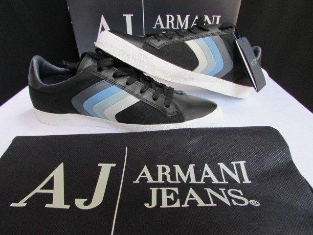 Neu Armani Jeans Aj Schwarz Blau Weißen Streifen Leder Herren Schuhe Turnschuhe Gr.