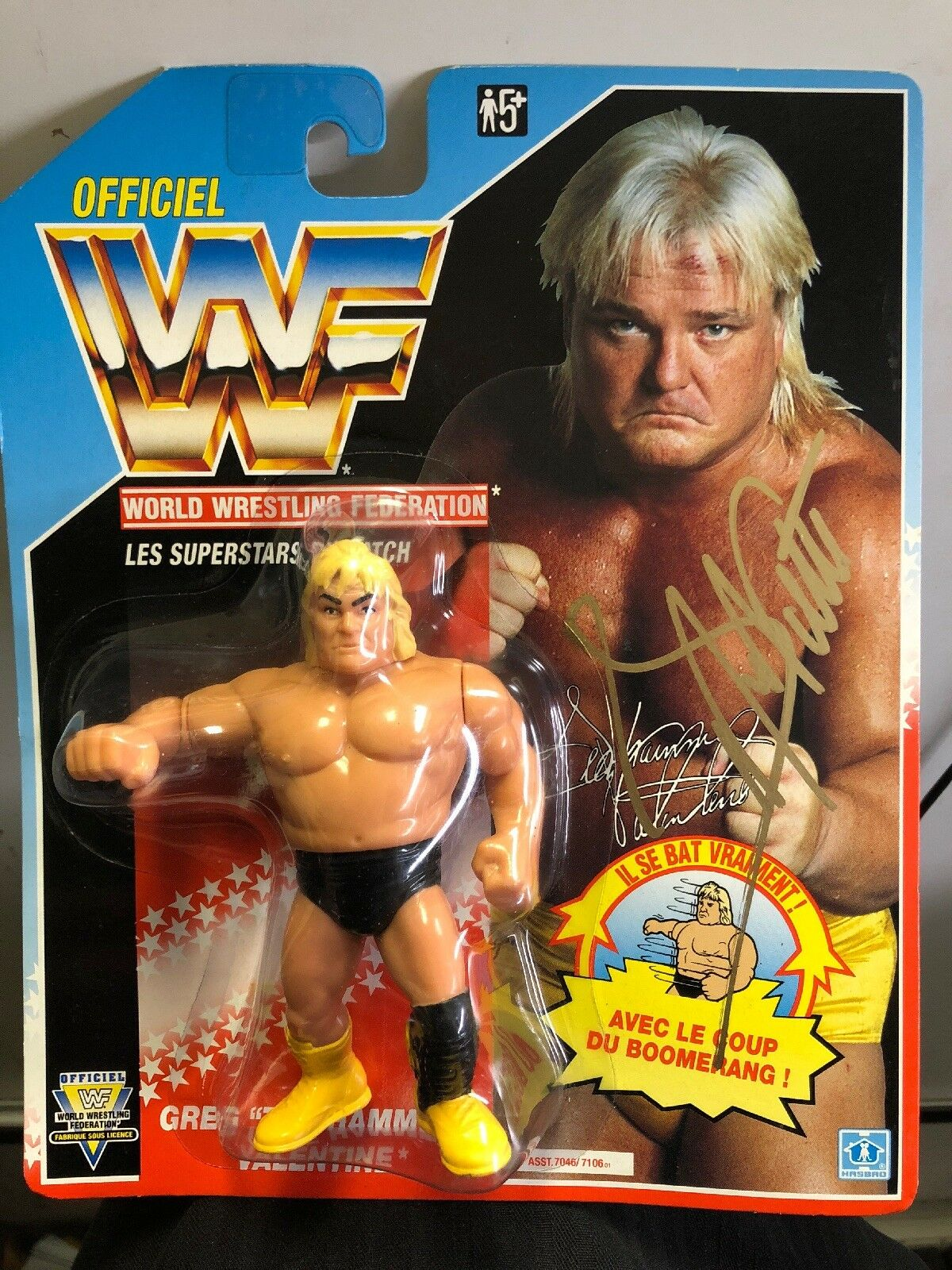 WWF Cargraphed Greg The Hammer Valentine Hasbro