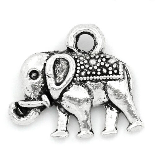 14mm x 12mm Boho Hippy Ethnic Antique Silver J24612F 50 Elephant Charms