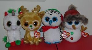 6e0e541d890 Image is loading Ty-2018-Christmas-Beanie-Boos-Set-BUTTONS-CANDY-