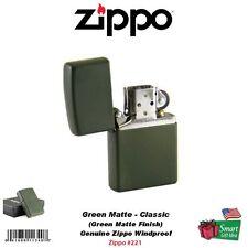 Zippo Green Matte Lighter, Classic, USA Genuine Windproof #221