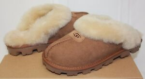 UGG-Coquette-Chestnut-Suede-Slippers-Shoes-New-With-Box