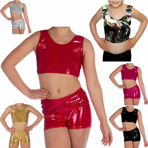 KIDS GIRLS SHINY CROP TANK TOPS METALLIC WET LOOK BRA CHILDREN DANCE PARTY VEST