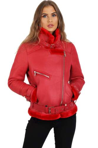 Womens Ladies Girls Aviator Fleece Lined Belt Detail Coat