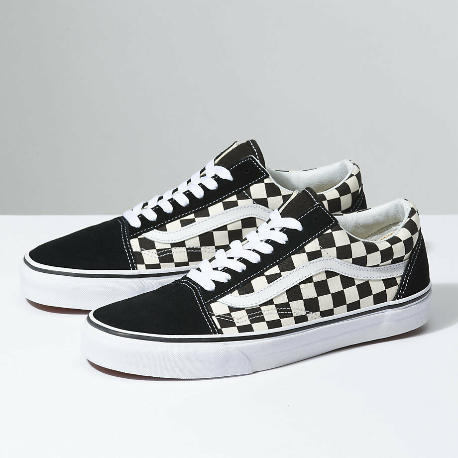 Vans Old Skool ( PRIMARY CHECK) BLK Weiß schuhe Classic Canvas Suede Fast ship