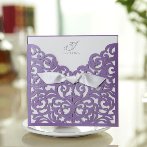 Purple Laser Cut Wedding Invitation Cards With Custom Personalized Printing