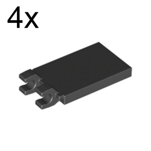 LEGO 4x Black Modified Tile 2x3 With 2 Clips 30350 4297713 30350b