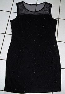 glitzer kleid gr xl 42 44 stretch kleid schwarz tüll partykleid etuikleid neuw  ebay