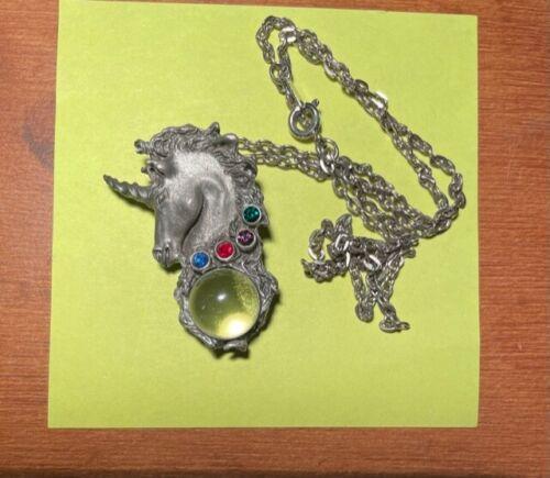 Vintage jeweled unicorn head pendent necklace - image 1