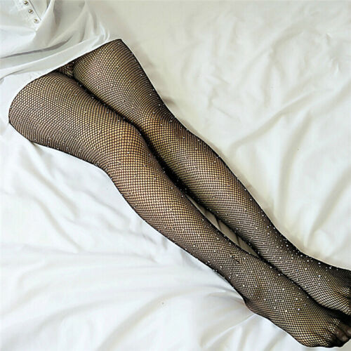 Women Crystal Rhinestone Fishnet Net Mesh Socks Stockings Tights PantyhoseHGUK