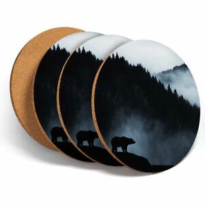 4 set - Misty Mountain Bear Wild - Coasters Kitchen Drinks Coaster Gift#14890