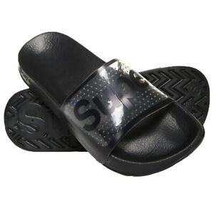 Superdry-NEW-Women-039-s-Perforated-Jelly-Pool-Sliders-Black-BNWT