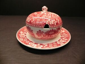 Rare-Mayonnaise-w-Attached-Underplate-by-Copeland-Spode-039-s-Tower-Pink