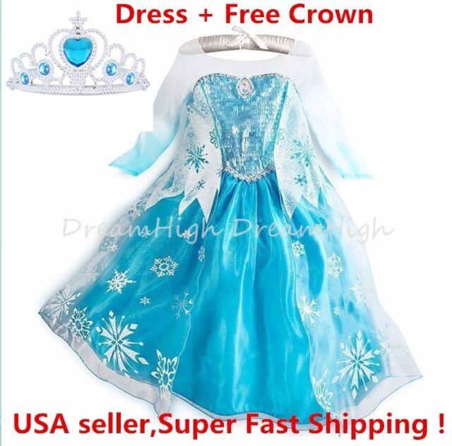 Disney Elsa Dress Parks Authentic Frozen Princess Costume Girls Sz