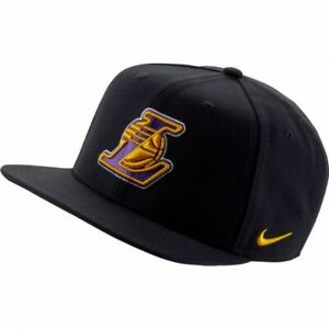 Nike-Pro-LA-Lakers-Flat-Brim-Mens-Hat-Black-1Size-Adjustable-Baseball-Cap