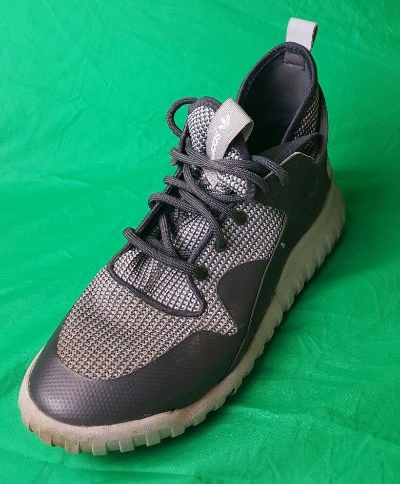 Men's Adidas Tubular X Carbon Grey Knit shoes AF6368 Sneakers (Size 9)