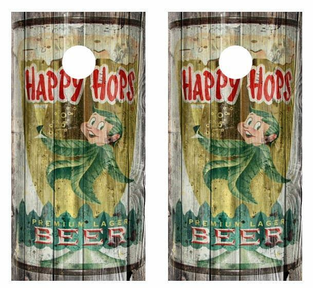 Vintage Happy Hops Premium Lager - Beer  Can Barnwood Cornhole Board Wraps  novelty items