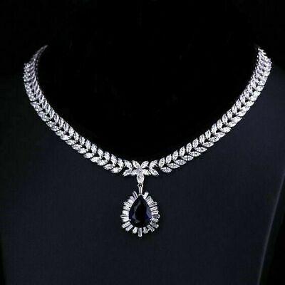 Details about  /14K White Gold Over 30 Ct Heart Cut Blue Sapphire /& Diamond Tennis Necklace