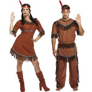 Hombre Adulto Mujer His Hers Indio Americano Rojo India Disfraz - Disfraz-india-americana