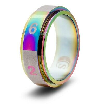 Size 14 - Stainless Steel - Rainbow CritSuccess Clicking Life Counter Ring