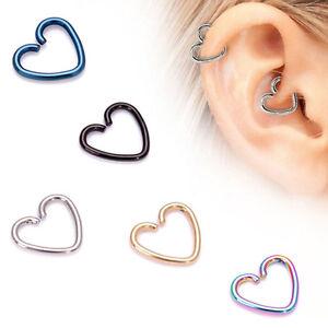 Image Is Loading 4xsurgical Steel Heart Ring Piercing Hoop Earring Helix