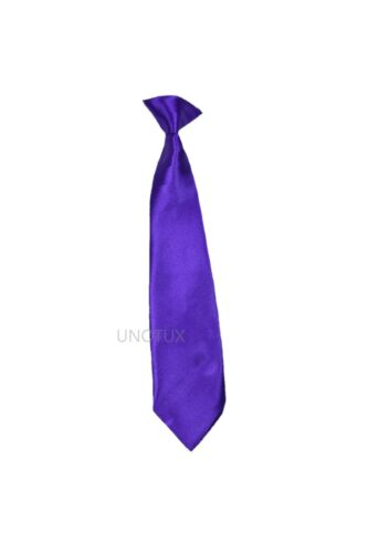 New Satin Solid 23 COLORS Clip on NECK Tie for Boy Formal Suit S-XL,2T-7,8-14