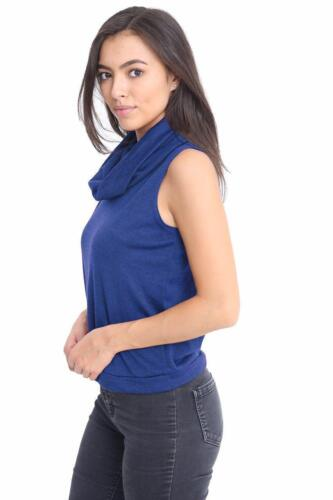 New Ladies Cowl Neck Cropped Sleeveless Stretch Plus Vest Dress Crop Top jumpers