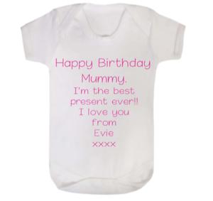 Personalised /'Happy Birthday Nanny//Auntie//Mummy//Daddy baby vest Bodysuit.