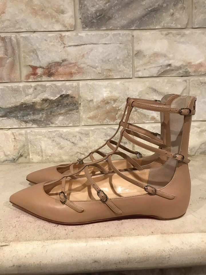 NIB Christian Louboutin Toerless Strappy Muse Nude Leather Strappy Toerless Cage Ballet Flat 41.5 a805f8