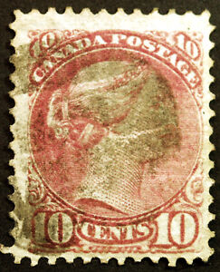 Early-Canada-40-10c-Dull-Rose-Lilac-1877-Queen-Victoria-F-Used-Rare