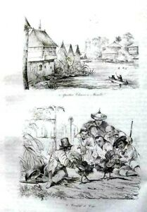 PHILIPPINES-MANILA-COCK-FIGHT-COSTUMES-Original-1835-Antique-Print
