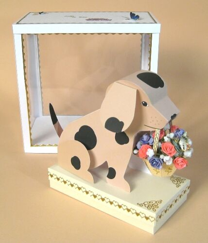"A4 Card Making Templates /""Barney/"" 3D Dog with Basket Display Box Card Carousel"