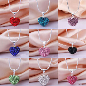 New-Fashion-Women-Pendant-Jewelry-Crystal-Heart-Sterling-Silver-Necklace-KK