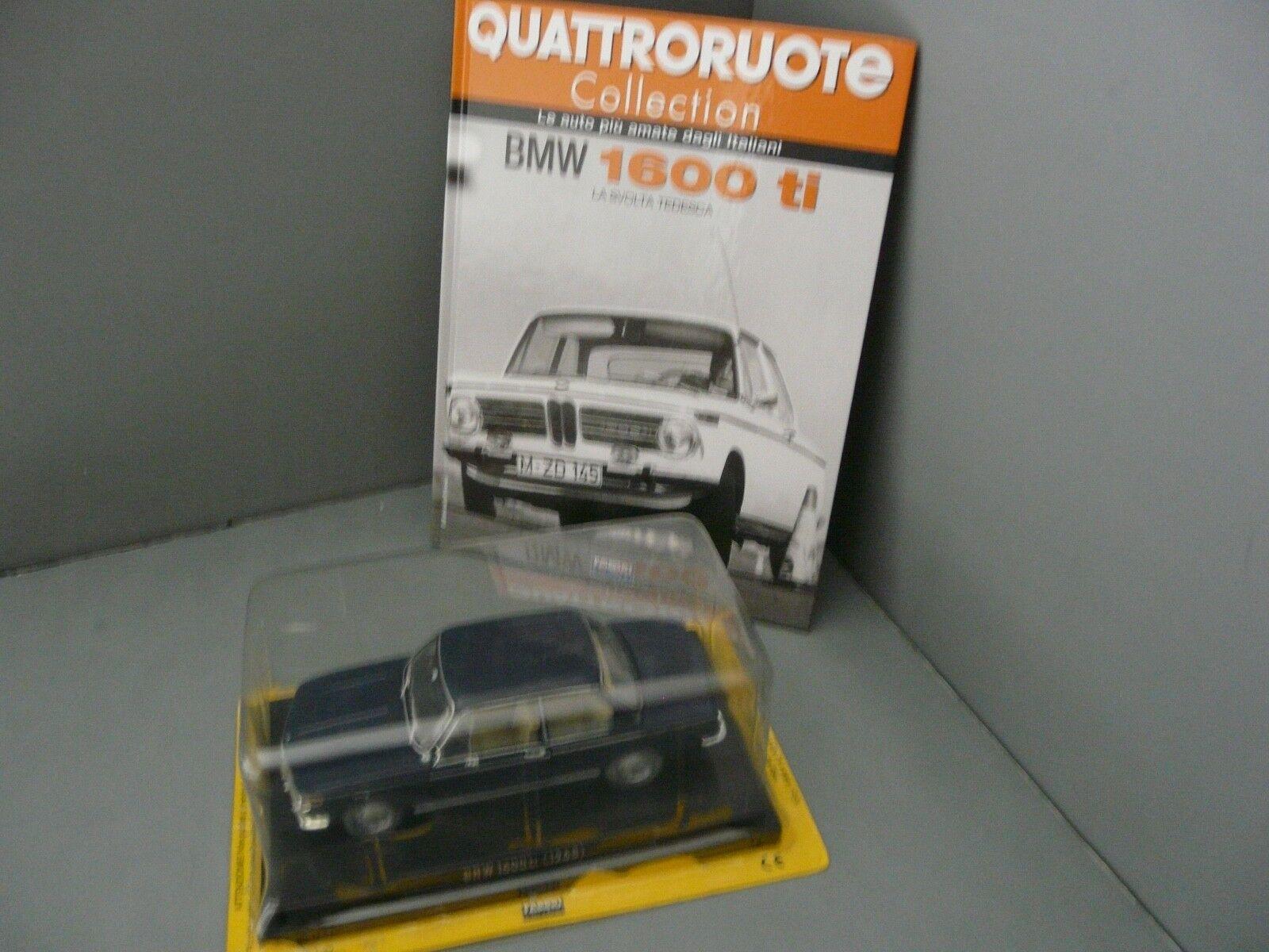 marca de lujo 1 1 1 24 - Quattroruote metro - 1968 BMW 1600ti Azul Marino con Libro (en italiano)  orden en línea