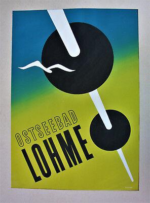 Ausstellung Nachfrage üBer Dem Angebot Plakatentwurf Von 1949 Mischtechnik Signiert Ostseebad Lohme