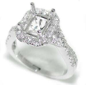 Beautiful-0-56-Ct-Diamond-Halo-Semi-Mount-Setting-for-Emerald-Cut-14K-White-Gold