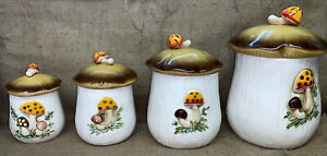 Vintage-1978-Sears-and-Roebuck-Merry-Mushroom-8-Pc-Canister-Set