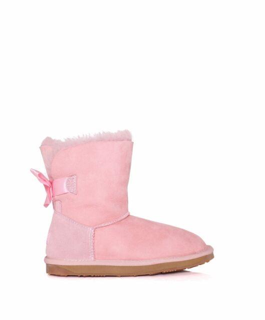 b2f20a389c9 Kids Boy Girl 100 Australian Sheepskin Ever UGG BOOTS Back Bailey Bow 12/13  Pink