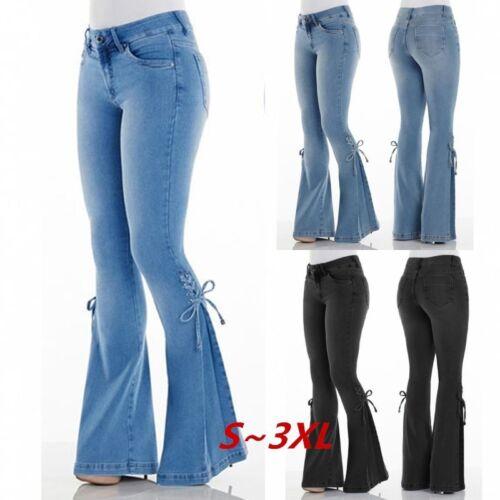 Women Fashion High Waist Bell Bottom Jeans Lace Up Sides Wide Leg Denim Pants