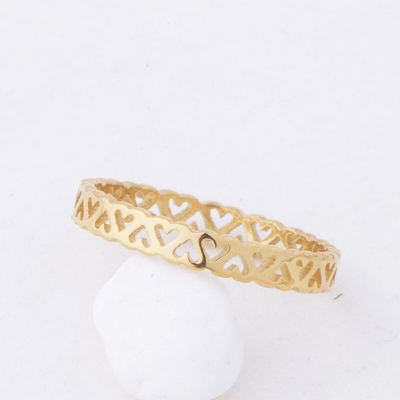 14k yellow gold plated womens rings Filigree hollow heart ring