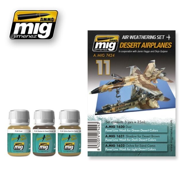 AMMO of Mig Jimenez Panel Line Wash Set - Desert Airplanes (35ml x 3)